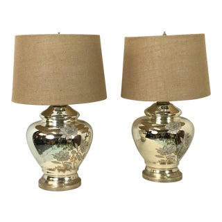 1970s Vintage Mercury Glass Table Lamps - a Pair