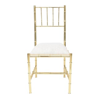 Italian Faux Bamboo Chair in Polished Brass