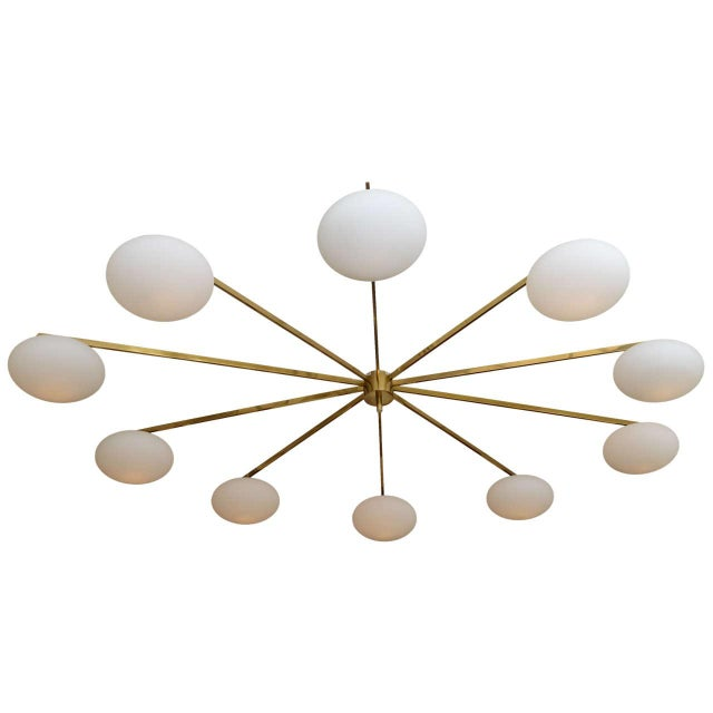 Mid-Century Modern Ten-Opaline Shade Chandelier in the style of Arredoluce - Image 1 of 10