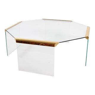 Gallotti & Radice Italian Mid-Century Glass & Brass Coffee Table