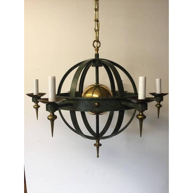 Vintage Spherical Iron and Brass Sputnik Chandelier - Image 2 of 4