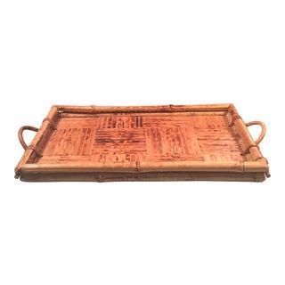 Vintage Boho Chic Burnt Bamboo Tray