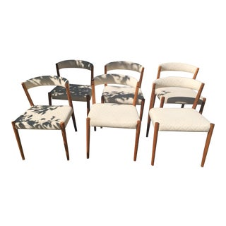 Teak Curved Back Dining Chairs - Set of 6