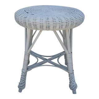 White Wicker Rattan Woven Foot Stool