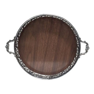 Retro Silverplate/Faux Wood Reed & Barton Tray