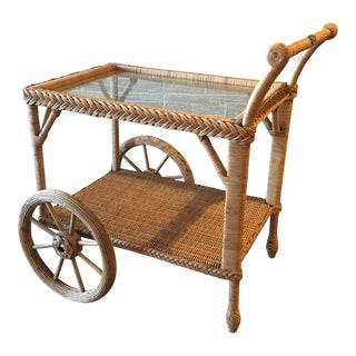 Vintage Smithsonian Collection Henry Link Wicker Bar/Tea Cart