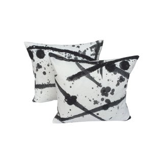 "Pierre Frey ""Leo"" Fabric Gray Pillows - A Pair"