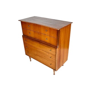 1960s Walnut Wood Tall Dresser