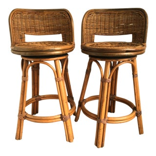Vintage Boho Bamboo Swivel Counter Stools - A Pair