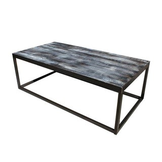 Dark Wood and Metal Cube Cocktail Table