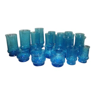 60s Anchor Hocking Blue Rainflower Drinking Glasses - Set of 20