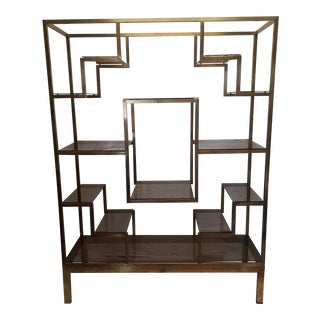 Mid-Century Italy Bronze Metal Etagere With Bronze Glass Shelves