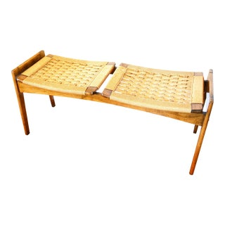 Rare Mid-Century Modern Rope Bench