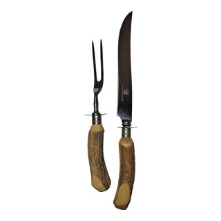 Classic Antler Handle Carving Set - A Pair