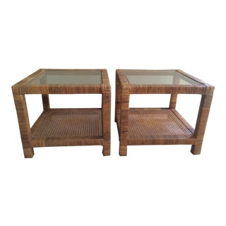 Rattan Wrapped Parsons Occasional Tables - Pair