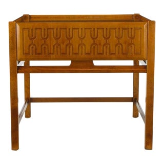 Swedish Teak Wood Single Drawer Carved-Relief Night Stand