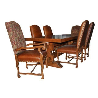 Tapestry & Leather Upholstered Dining Set