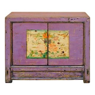 Chinese Distressed Purple Flower Graphic Console
