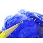 Image of Art Glass Bark Textured Blue Vase