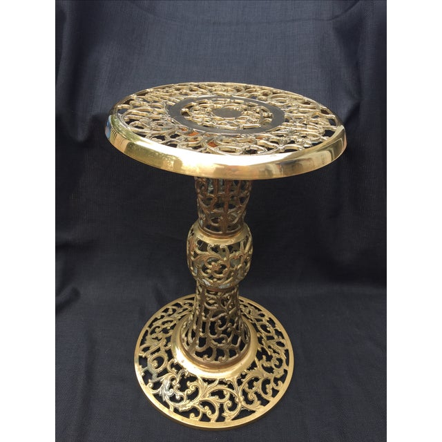 Ornate Filagree Solid Brass Round Side Table - Image 4 of 11