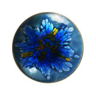 Vintage Mid-Century Blue Floral Enamel Plate