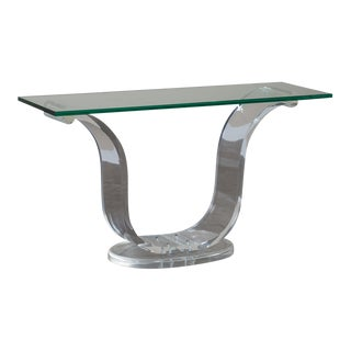 Vintage Lucite and Glass French Console Table circa 1970