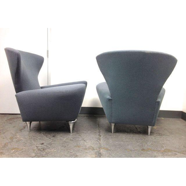 Modern Galerkin Wing Back Chairs - Pair - Image 4 of 7