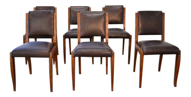 French Art Deco Ruhlmann Style Chairs   Set Of 6