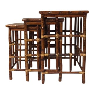 Nested Vintage Chinoiserie Bamboo Tables - Set of 3