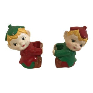 Mid-Century Elf Candle Holders - A Pair