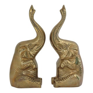 Brass Elephant Bookends - A Pair