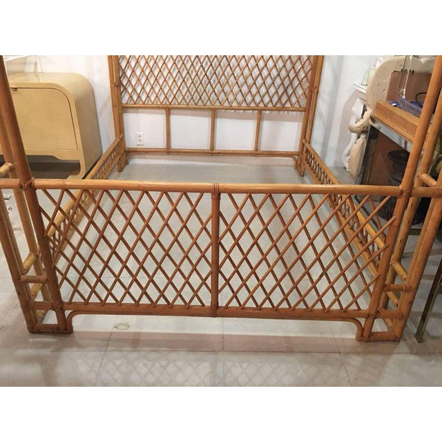 Rattan Bamboo Chinese Chippendale Queen Canopy Bed - Image 6 of 12