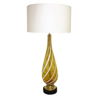 Italian Amber and White Striped Murano Glass Table Lamp Mid-Century Modern MCM