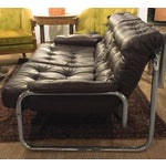 Image of Mid-Century Leather & Tubular Chrome Loveseat