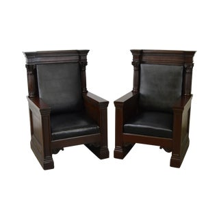 Antique Pair of Mahogany Masonic Temple Throne Chairs