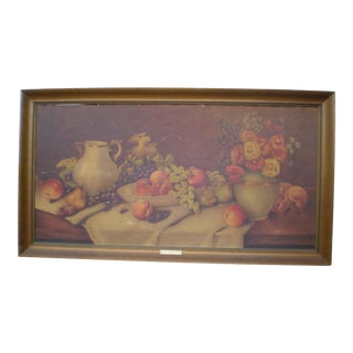 Framed Fruits & Flowers Still Life by A. Leder