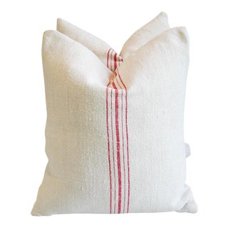 Custom French Grain Sack Down & Feather Pillows - Pair