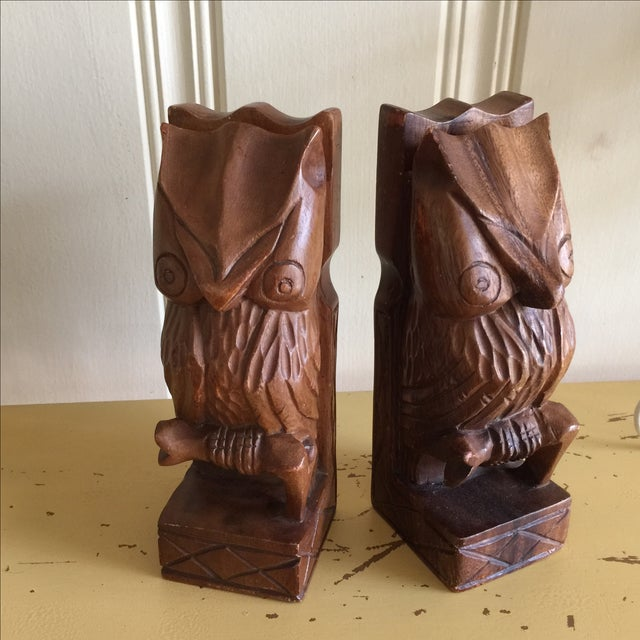 Vintage Rustic Carved Owl Bookends - A Pair - Image 2 of 10