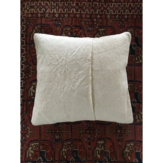 Image of Vintage French Floral & Linen Textile Accent Pillow