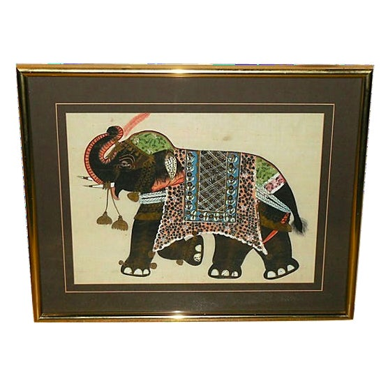 Indian Elephant Painting on Silk - Image 1 of 7