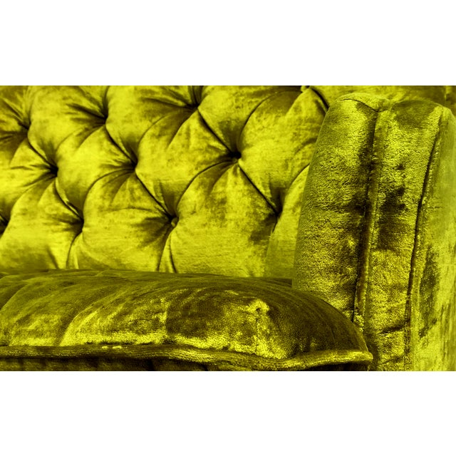 Chartreuse Velvet Tufted Sofa - Image 2 of 3