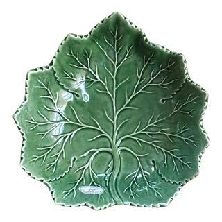 Large Majolica Style Leaf Serving Bowl