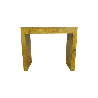 Patchwork Burl Wood Console Table with Drawer