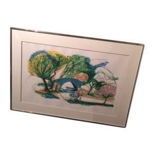 """Ronald Christensen """"Blue Bridge"""" Lithograph"""