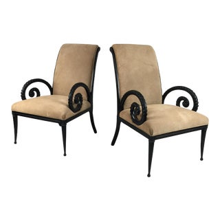 Suede Armchairs Attributed To Grosfeld House