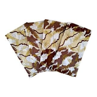 White & Gold African Print Fabric Napkins & Runner - Set of 7