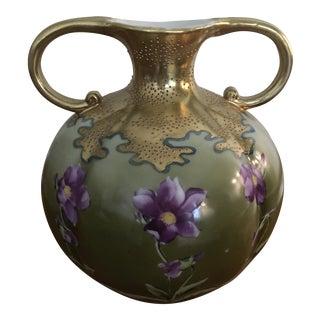 Gilded Olive Green and Purple Flower Porcelain Vase