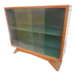 1930's Art Deco Petite Sliding Glass Door Bookcase