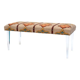 Fabric Upholstered Lucite Bench