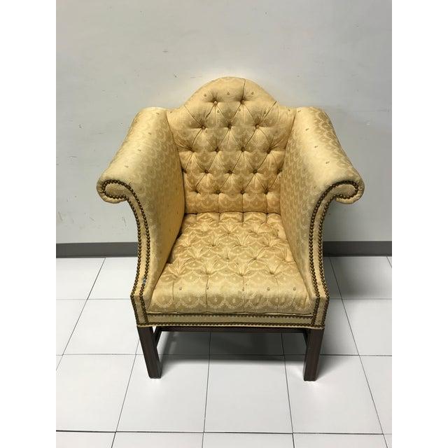 Vintage Fairington Mahogany Frame Button Tufted Arm Chair - Image 5 of 11